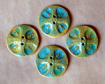 4 Handmade Ceramic Buttons - Large Celtic Cross Buttons in Brown Stoneware with Gloss Green Glaze