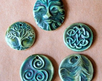 5 Handmade Ceramic Beads in Deep Moss Green Gloss  - Celtic Pendants and St Patrick's Day Charms - Greenman Pendant - Tree of Life Focal
