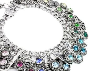 Silver Rainbow Jewelry, Crystal Rainbow, Rainbow Bracelet, Personalized Charm Bracelet, Crystal Bracelet