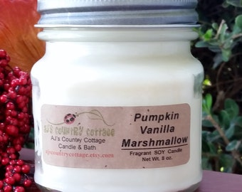PUMPKIN VANILLA MARSHMALLOW Soy Candle - Fall Autumn Candles