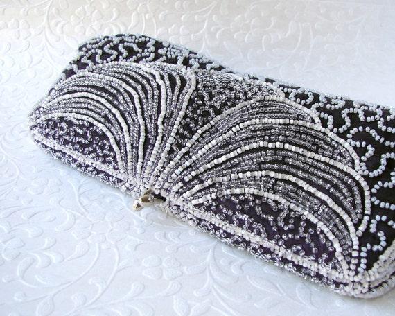Vintage Beaded Purse Deep Plum Purple Clutch L. S. Ayres and Co Hand Made Belgium 1950s Formal Handbag Glass Bead Evening Bag Wedding Prom
