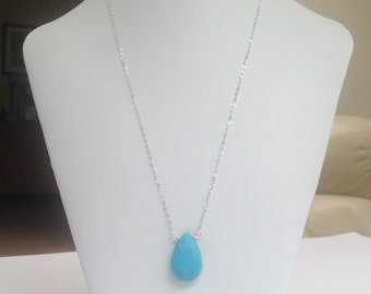 Faceted Turquoise pendant Sterling Silver Chain Necklace with Citrine rare Beautiful Robins Egg Blue Throat Chakra
