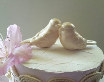 Ivory Love Birds Ivory Wedding Cake Topper Ivory Wedding Ceramic Birds Home Decor Wedding Favors
