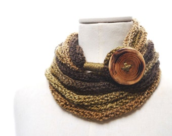 Knit Infinity Scarf Necklace, Loop Scarlette Neckwarmer - Brown, Beige, Camel ombre yarn with big wood button - Handmade