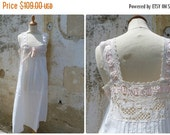 "SUMMER SALES Vintage Antique French 1900 Edwardian  white ""fil"" dress /underdress /nightgown handmade gorgeous large lace & pink silk ribbon"