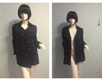 Vintage 60s Military Wool Peacoat  SMALL MEDIUM