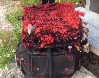 Red Pom - Punk Gothic Gypsy Backpack - altered Urban Graffiti  bag