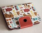 SALE Handmade Vinyl Passport Case - Puppy Icons / travel, passport, vinyl, woman's, wallet, snap, paper, dog wallet, puppy wallet, case