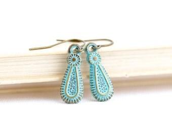 Ethnic Earrings, Tribal Earrings, Small Green Earrings, Patina Jewelry, Brass Earrings, Boho Jewelry, Rustic Earrings, Gift For Her