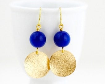 Royal Blue Earrings - Gold Earrings - Geometric Earrings - Dangle Earrings - Electric Blue - Beaded Earrings - Gift For Her