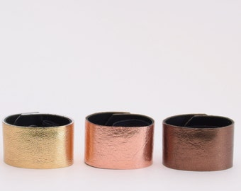Warm 3-Pack Leather Hair Cuff Ponytail Holder in Gold, Rose Gold and Bronze size 4inches