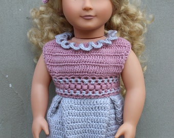Box Pleat 18 inch doll dress crochet pattern