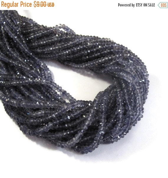 May SALE New Iolite Faceted Rondelle Beads, 3-3.5mm Faceted Iolite Gemstones, 6.5 Inch Strand, Necklace Rondelles, Jewelry Supplies (R-Io3)