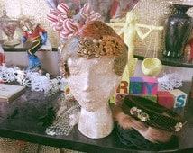 Vintage Hat Lot / 1940s / 1950s / fascinator / Old Hollywood / novelty / birdcage / black / ivory / brown / fur / feathers