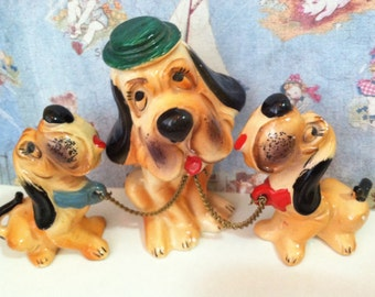 VERY RARE Vintage Antique Wales Hound Dog Bobble Head Mama and Babies Hound Dog Family Collectible Figurines or Cake Toppers