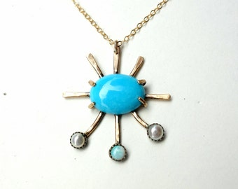 Open Arms Morenci Turquoise Pendant in 14k GF with Genuine Opal and Pearls Handmade Sculptural Necklace by Rachel Pfeffer