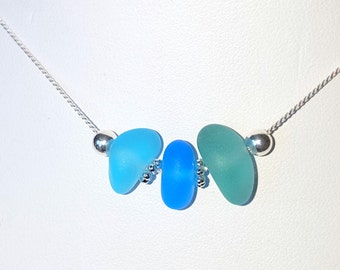 Aqua Sea Glass Pendant Sea Glass Necklace Sea Glass Jewelry N-375