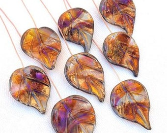 8 Aurora Bling Leaves Head Pins Set,  Glass Headpins Handmade lampwork glass headpins by Beadfairy Lampwork