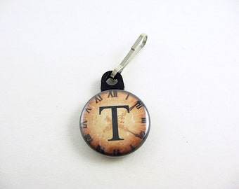 Personalized Letter, Zipper Pull, Zipper Charm, Black, Brown, Steampunk