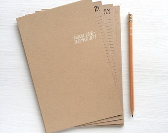 2016 - 2017 kraft monthly academic planner sheets - small