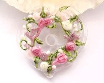 1 Handmade Lampwork Floral Disc Heart Bead