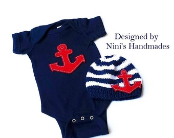 Knit Nautical Baby hat and baby One-Piece Set with Anchor , Made in the USA,  baby fashion,  Newborn photography, Baby shower gift, kids hat