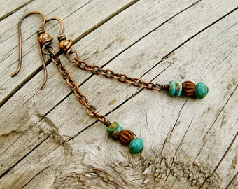 Turquoise and Bone chain dangle earrings - antiqued copper wire wrapped earrings