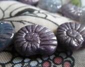 Lavender Picasso 17x13mm Glass Nautilus Beads 10 Pcs