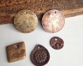 Etched Pieces, Copper, Brass, Mandala Flower, Handmade, Copper Clay, Bronze Clay, Kiln Fired, Tree,