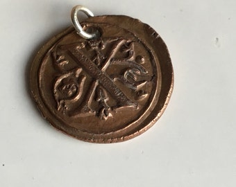 Copper X Initial, Copper Metal Clay, X Pendant, Copper Pendant, Wax Seal Initial, Pmc Clay