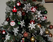 DOZEN OF 13 Crocheted snowflakes ornaments different sizes and designs, beautiful work