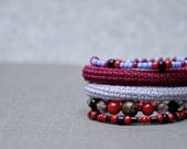 coil crochet bracelet in lavender and wine red  - stacked memory wire bracelet - modern crochet jewelry