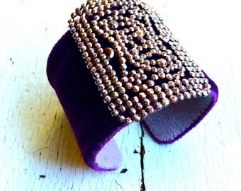 Aubergine/Deep Eggplant Purple Velvet Adjustable Cuff