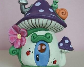 Mushroom Fairy  House - Polka Dot Fairy House - Purple Fairy House - Snail Fairy House - Lighted Fairy House -
