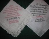 Wedding Handkerchiefs for Moms 203S Mother of the Bride and Mother of Groom Hankies set of two