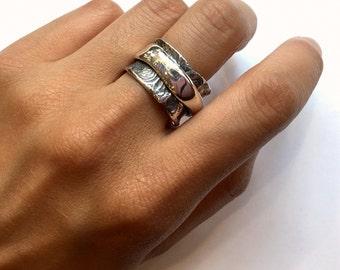 Rustic mens band, chunky ring, unique wedding ring, spinner ring, bohemian ring, boho ring, biker ring, rustic jewelry - Eternity R1358CS