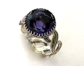Unique engagement ring for her, amethyst ring, gypsy ring, infinity ring, Silver amethyst ring, boho ring, stone ring - Precious time R2155