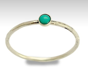 Hammered ring, gemstone ring,stacking ring, silver band, Turquoise ring, stone ring, thin ring, sterling silver ring - Secret smiles R1595X