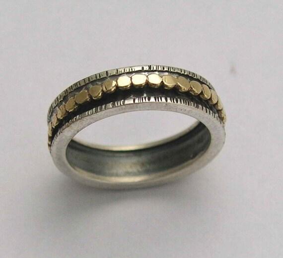 spinner ring unisex wedding band fidget ring two tone wedding band spinning