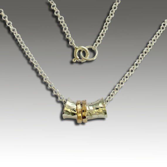 Spinner necklace, sterling silver necklace, silver gold hammered necklace, two tones necklace, shiny pendant - I will rescue you N4694