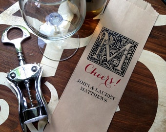 Paper Wine Bags, personalized Wine Bags, Wine Gift bags, Printed Wine Bags,  CUSTOM COLORS, set of 12