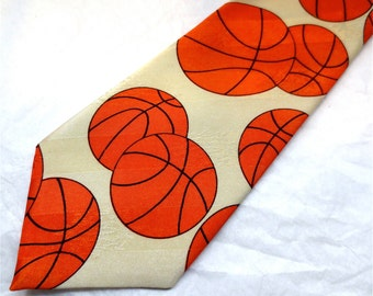 Basketball Necktie - March Madness Neck Wear Mens Classic Menswear  - A Rogers Tie - Funky Cravat
