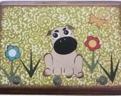 Dog Leash Holder, Hanger, Hook, Key Holder, Hanger, Hook, Wall Hanging Plaque, Nursery Baby's Room, Pug Dog, Puppy, 5x7, MADE TO ORDER
