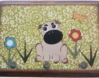 Dog Leash Holder, Hanger, Hook, Key Holder, Hanger, Hook, Wall Hanging Plaque, Nursery Baby's Room, Pug Dog, Puppy, 5x7, READY TO SHIP