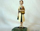Secretary on Vintage Typewriter Ribbon Tin - Original Wood Carving - USA
