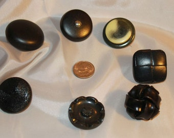 assortment of large black vintage buttons, knitters, crocheters
