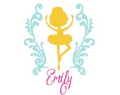 Fancy Scroll Ballerina with Personalized Name Decal!  Stick it on anything!!  The car, ice chest, children items.  Virtually Any Surface!!