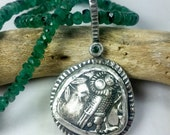 Reserved for Shannon Athena Owl Necklace, Ancient coin and Emerald Pendant, Gemstone strand necklace, Ancient coin jewelry
