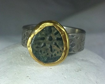 Statement Ring,  Authentic Widows Mite Coin,  ancient Christian coin, silver and Yellow gold  ring, ancient coin jewelry