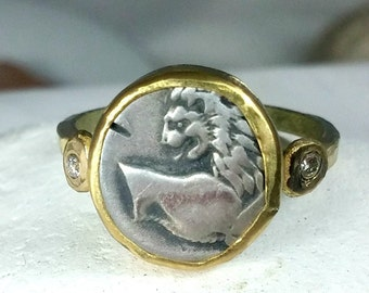 Gold Coin Ring, Statement Ring, Ancient Coin Jewelry, solid yellow gold ring,   Diamond  and coin ring